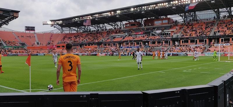 corner kick during a cloudy Houston Dynamo match at BBVA Stadium