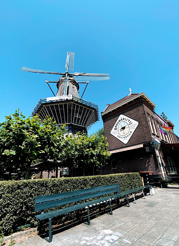 Amsterdam beer garden with empty park bench in foreground with a wooden windmill in the background